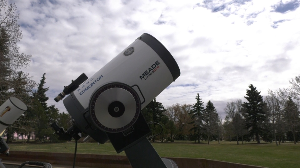 A telescope at the Telus World of Science Edmonton. April 28, 2021. (CTV News Edmonton)
