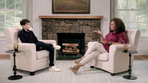 Actor and producer Elliot Page sits down with Oprah Winfrey in a new interview for 'The Oprah Conversation.' (Source: Courtesy of Apple via CNN)