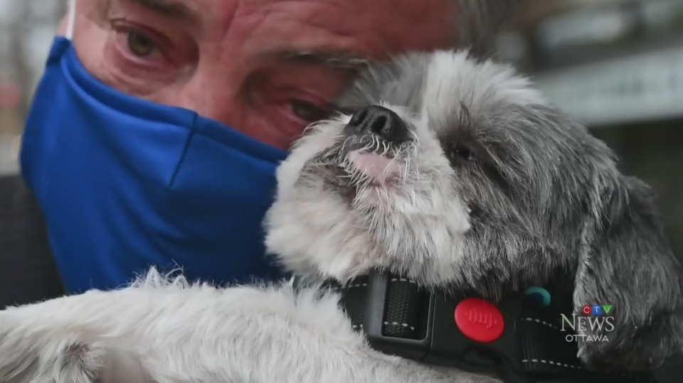 Calvin Maynard reunited with his beloved dog Max