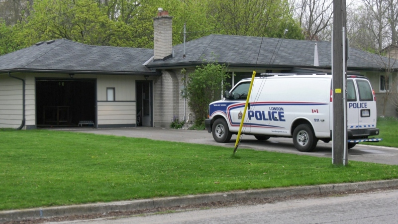 London police on scene at a residence on Trott Drive investigating a suspicious fire on Thursday, April 29, 2021. (Marek Sutherland / CTV London)