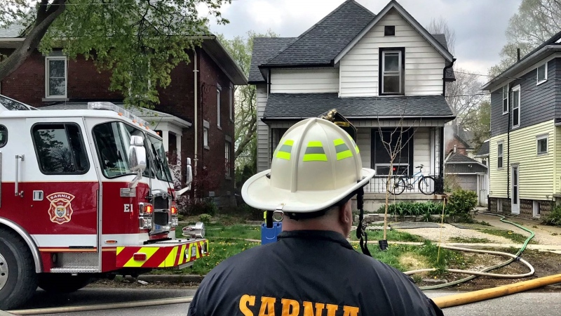 Sarnia Fire crews on scene for a house fire in the 100 block of College Avenue South on Wednesday, April 28, 2021. (supplied)