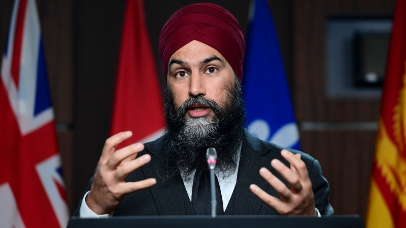 NDP Leader Jagmeet Singh holds a press conference on Parliament Hill in Ottawa on Thursday, April 29, 2021. THE CANADIAN PRESS/Sean Kilpatrick