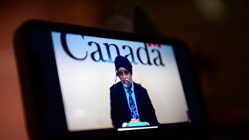 Defence Minister Harjit Sajjan speaks on a livestream during a virtual news conference, in Ottawa, Thursday, April 29, 2021. Sajjan announced that former Supreme Court justice and United Nations high commissioner for human rights Louise Arbour to lead what it is billing as an independent review of the military's handling of sexual assault, harassment and other misconduct. THE CANADIAN PRESS/Sean Kilpatrick