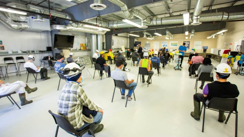 Cargill employees attend a vaccination clinic at the plant near High River. (Courtesy of Cargill/Jason Dziver)
