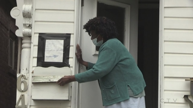 London, Ont. senior citizen Shirly Roberts who had her copper pipes stolen from her home seen here on April 29, 2021. (Jim Knight/CTV London)