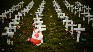 Crosses are displayed in memory of the elderly who died from COVID-19 at the Camilla Care Community facility during the COVID-19 pandemic in Mississauga, Ont., on Thursday, November 19, 2020.  THE CANADIAN PRESS/Nathan Denette