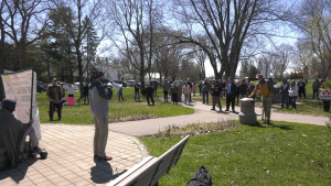 """Over 100 people attended the """"Stand for Freedom"""" rally at Bellevue Park in Sault Ste. Marie from 12 p.m.-1:30 p.m. Masking was """"optional,"""" according to a flyer circulating online. April 30/21 (Christian D'Avino/CTV News Northern Ontario)"""