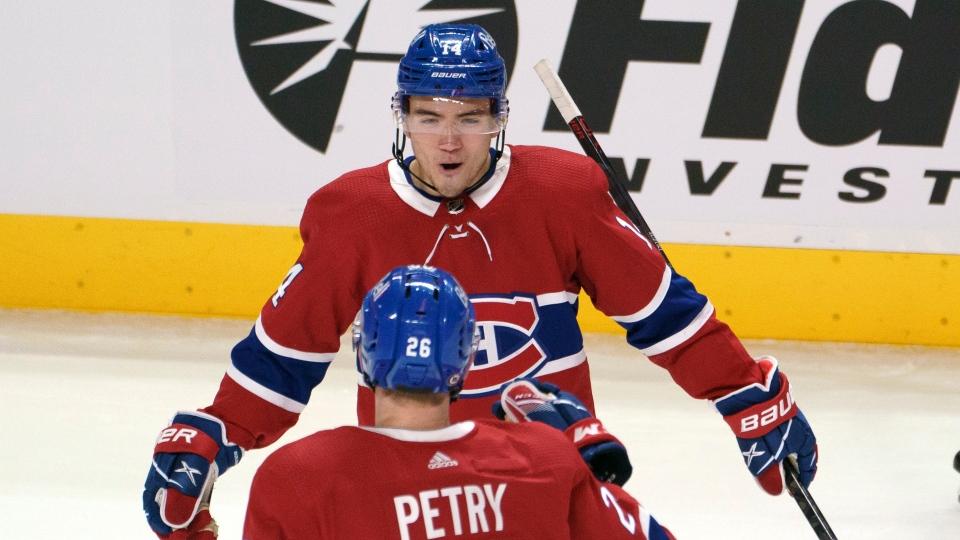 Montreal Canadiens' Nick Suzuki celebrates