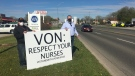 Nurses at the Victorian Order of Nurses (VON) in Sarnia, Ont. are on strike, seen on Saturday, May 1, 2021 (Brent Lale/CTV News)