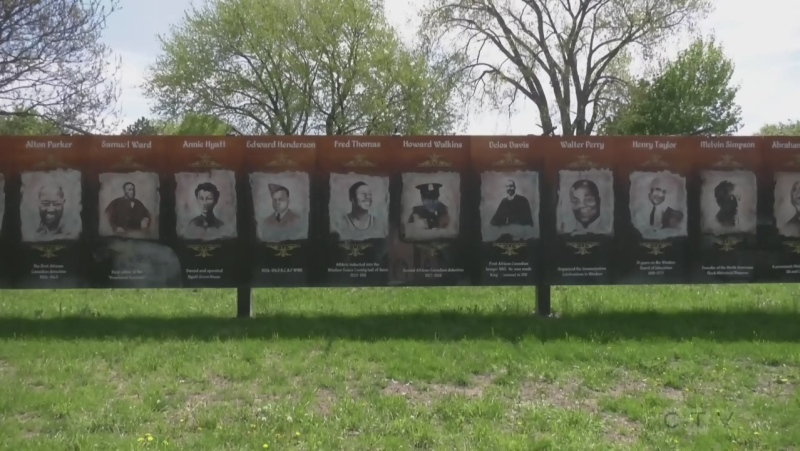 The Mural at Patterson Park in Sandwich near Detroit Street celebrates the town's black history was defaced - Saturday, May 1, 2021 (Bob Bellacico / CTV News)