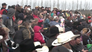 The 'No More Lockdowns' rodeo drew thousands of people who packed the stands. CTV News witnessed only one of the spectators wearing a mask.