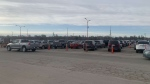 Regina's drive-thru vaccine clinic opened to long lines on Sunday morning.  (Courtesy: Monah Mohamed)