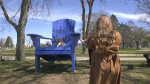Five big blue chairs will now be permanent fixtures in Sault Ste. Marie but could see some rotation to other locations in the future. May 2/21 (Christian D'Avino/CTV News Northern Ontario)
