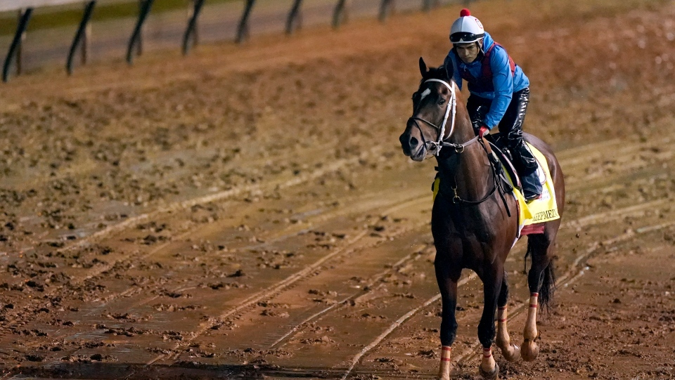 Kentucky Derby entrant Keepmeinmind works out at Churchill Downs Thursday, April 29, 2021, in Louisville, Ky. The 147th running of the Kentucky Derby is scheduled for Saturday, May 1 (AP Photo/Charlie Riedel).