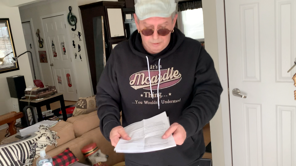 Steve McArdle, 62, says he was told he needed his second dose of the Moderna COVID-19 vaccine no later than May 17, but the closest appointment he was able to get is in August. (Jackie Perez / CTV News Ottawa)