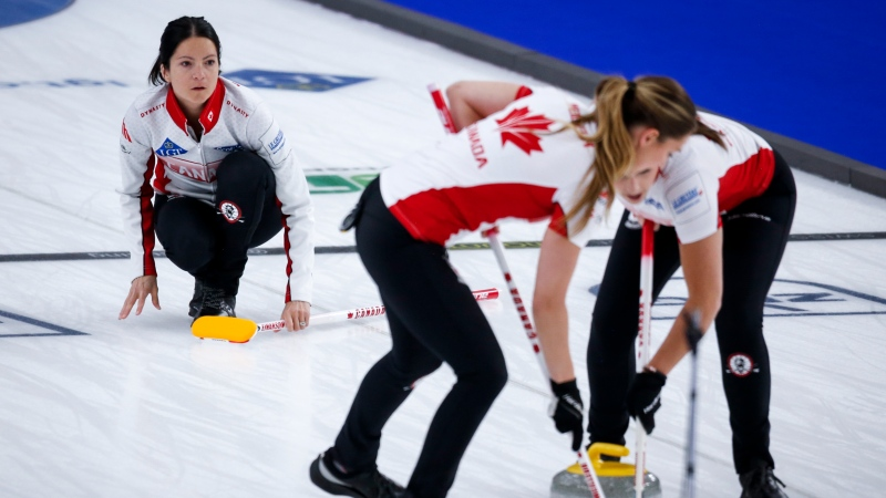 Team Canada skip Kerri Einarson makes a shot against the United States at the Women's World Curling Championship in Calgary, Alta., Sunday, May 2, 2021. (THE CANADIAN PRESS/Jeff McIntosh)