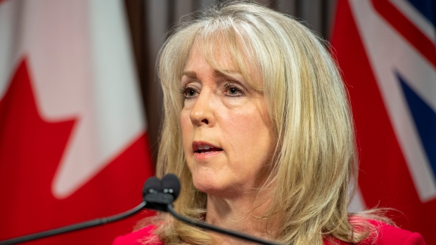 Merrilee Fullerton, Ontario Minister of Long-Term Care answers questions about the Auditor General's report on her Ministry's response to the COVID19 pandemic in Toronto on Wednesday April 28, 2021. THE CANADIAN PRESS/Frank Gunn