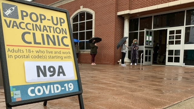 A pop-up COVID-19 vaccination clinic for those 18 and older opened at St. Angela Centre and Hall on Erie Street in Windsor, Ont. on Monday, May 3, 2021. (Chris Campbell/CTV Windsor)