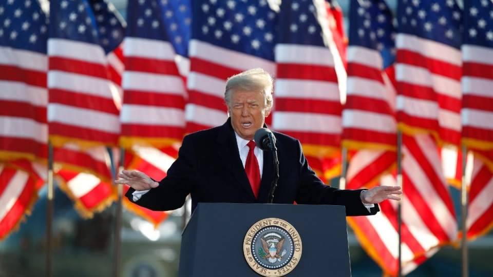 Donald Trump speaks on Jan. 20, 2021