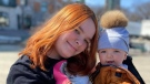 Jessyka Parrot with her seven-month-old son, Logan, who contracted COVID-19.