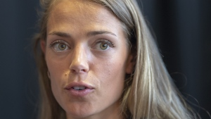 Melissa Bishop-Nriagu speaks to the media at the opening news conference at the Canadian Track and Field Championships, in Montreal, Thursday, July 25, 2019.THE CANADIAN PRESS/Ryan Remiorz