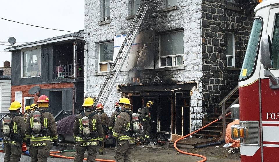 Greater Sudbury Fire Services are on the scene of a residential fire in the Flour Mill area of the city. (Bill Clegg/CTV News)