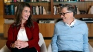 In this Feb. 1, 2019, Bill and Melinda Gates look toward each other and smile while being interviewed in Kirkland, Wash. (AP Photo/Elaine Thompson)