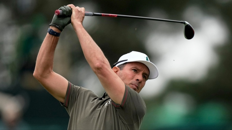 Mike Weir, of Canada, watches his tee shot on the third hole during the second round of the Masters golf tournament on Friday, April 9, 2021, in Augusta, Ga. Weir won the Insperity Invitational in Texas on Sunday, May 2, 2021  (AP Photo/David J. Phillip)