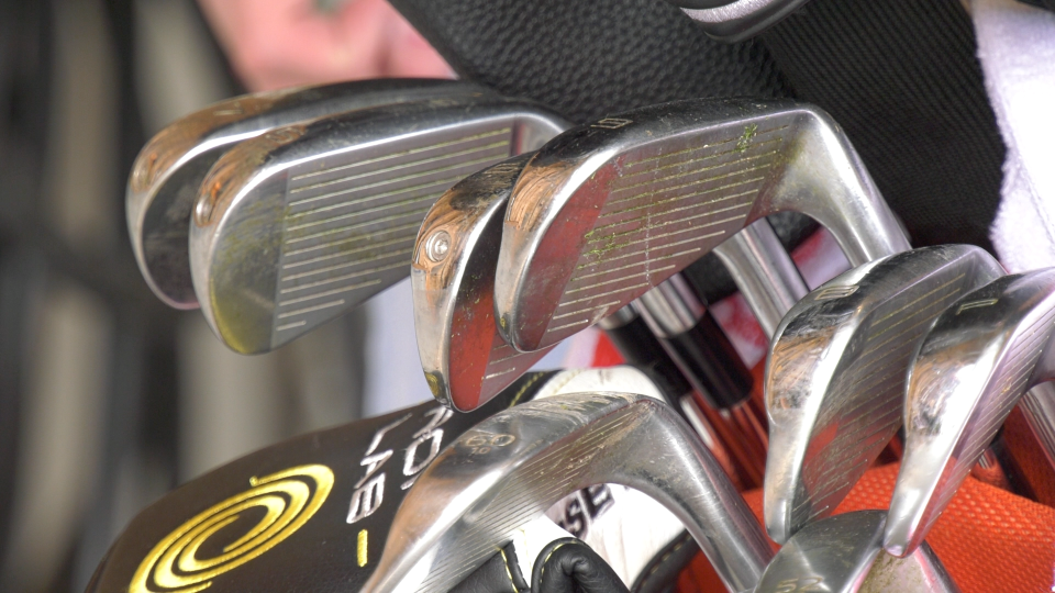 A set of golf clubs is pictured in this file image.