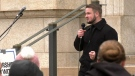 Tobias Tissen, a minister at the Church of God Restoration near Steinbach, Man., speaks at a rally outside Manitoba's Court of Queen's Bench in Winnipeg on Monday, May 3, 2021. (Source: CTV News Winnipeg)