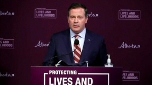 Premier Jason Kenney will announce a cross-border vaccination partnership with the U.S. state of Montana. (File photo)