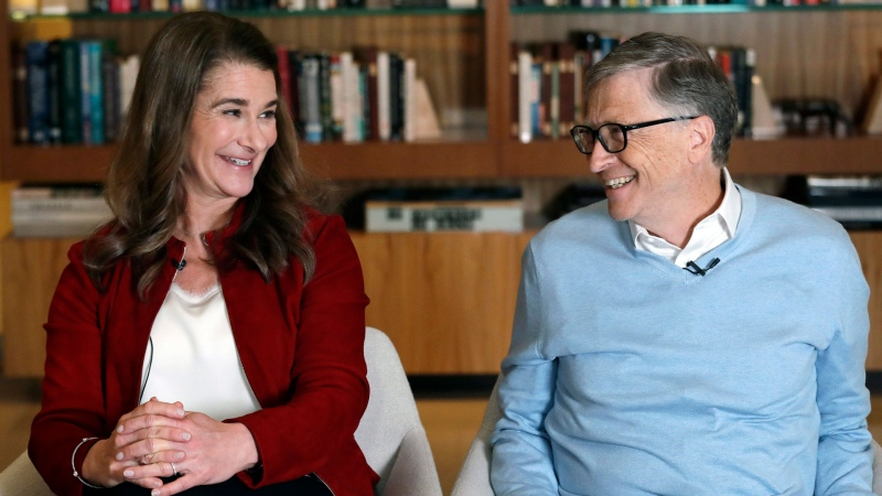 In this Feb. 1, 2019, Bill and Melinda Gates look toward each other and smile while being interviewed in Kirkland, Wash. (AP / Elaine Thompson)