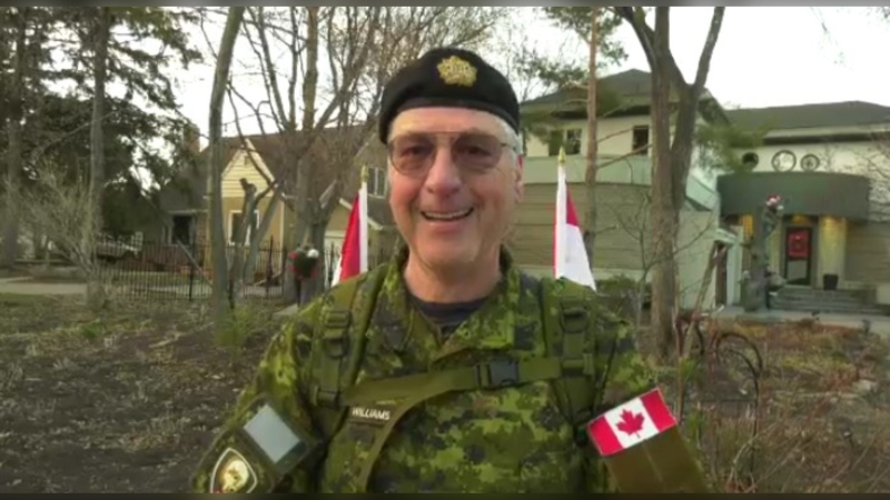 Honourary Col. Bob Williams, of the Fort Garry House regiment, began his first walk on Tuesday morning near the Assiniboine Park footbridge.