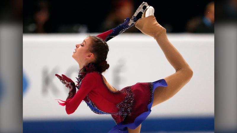 Anna Shcherbakova from Russia competes in the women free skating at the World Junior Figure Skating Championships in Zagreb, Croatia, Saturday, March 9, 2019. (AP Photo/Darko Bandic)