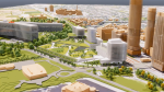 A rendering of the proposed design for the new Ottawa Hospital Civic Campus, which is scheduled to open in 2028. This image shows the view of the campus from Dow's Lake. (Image courtesy of The Ottawa Hospital)
