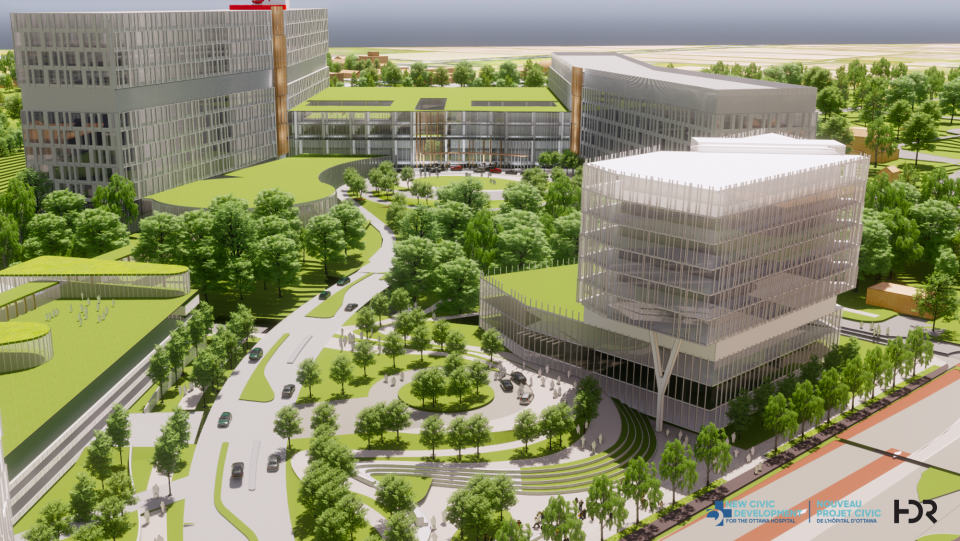 New Civic main entrance and research tower