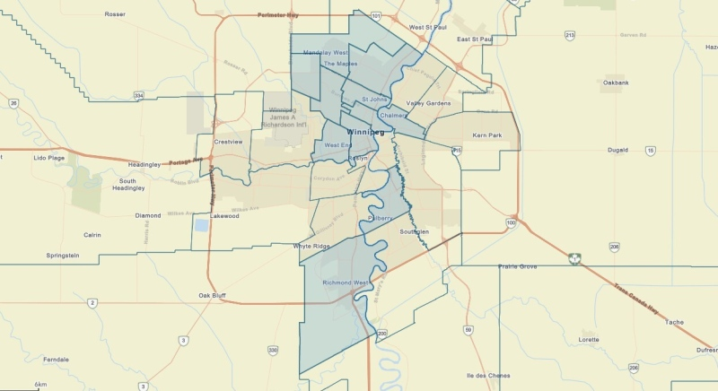 As of May 4, all adults who live or work in the communities highlighted in blue in Winnipeg can book an appointment for a COVID-19 vaccine. (Source: Manitoba government)