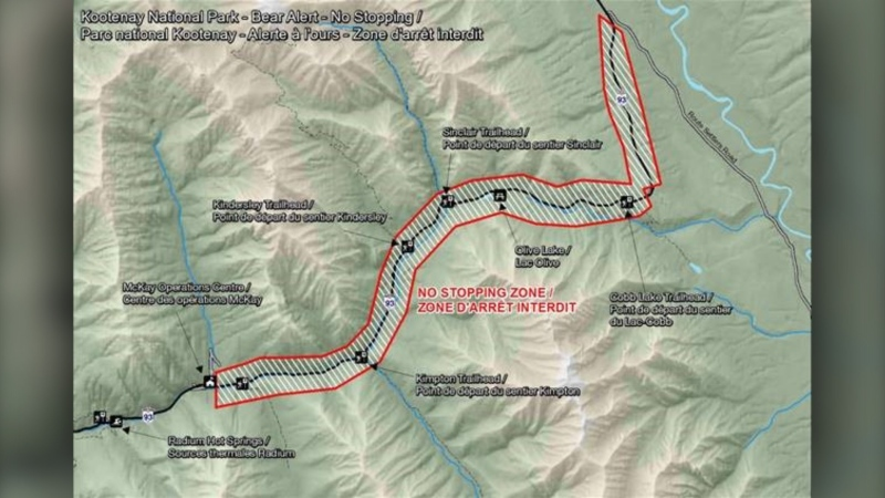 Map illustrating the No Stopping Zone along Highway 93S, east of Radium Hot Springs, that will go into effect on May 5 in response to bear activity. (Parks Canada)