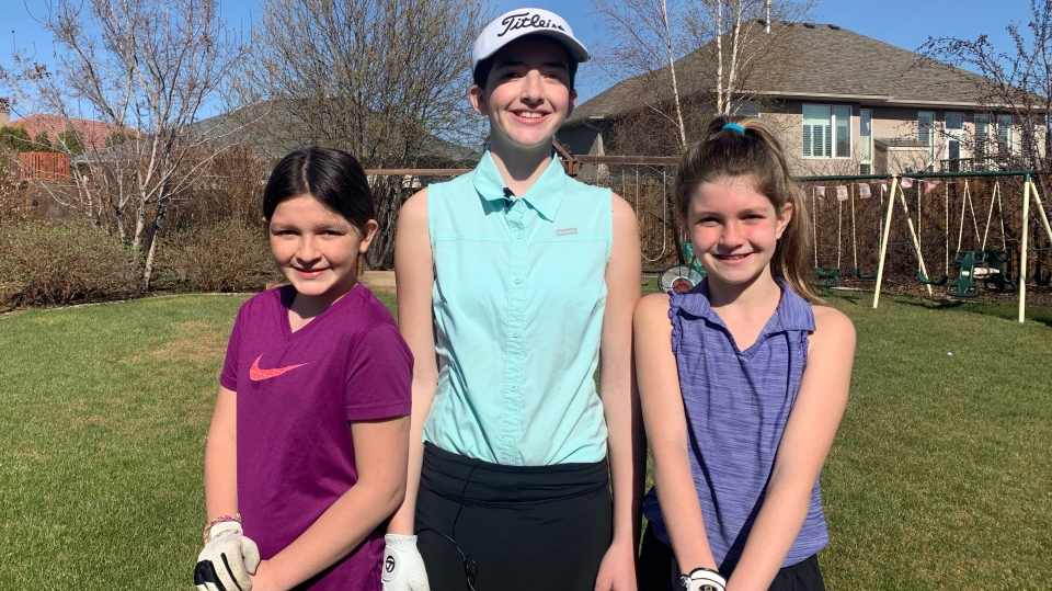 Rachel Henderson, left, Sarah Henderson and Julia Henderson are among the Saskatchewan girls taking up golf. (Carla Shynkaruk/CTV Saskatoon)