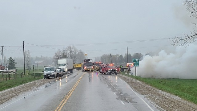 Emergency crews respond to a crash near Milverton (Supplied: Don Storey)