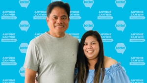 Coquitlam, B.C., residents Leizl Panganiban and Edgar Ebreo beat incredible odds to win two lottery prizes in less than a year. (B.C. Lottery Corporation)