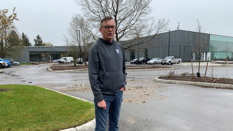 London, Ont. Coun. Shawn Lewis stands in front of the East Lions Community Centre on May 4, 2021. (Bryan Bicknell/CTV London)