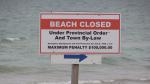 Beach closed sign on Lake Huron (Scott Miller/CTV London)