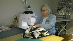 Quilter Gloria VanDusen working on a project. (Nate Vandermeer / CTV News Ottawa)