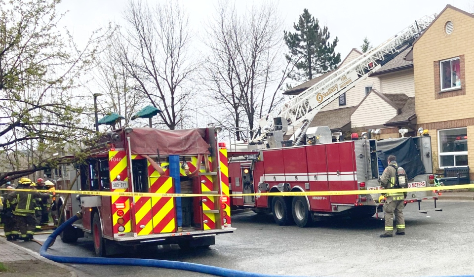 Greater Sudbury firefighters are currently on the scene of a fire on Barry Street, in the Minnow Lake area of the city. (Alana Everson/CTV News)