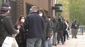 Residents of Overbrook line up outside the Overbrook Community Centre May 4, 2021, for a drop-in COVID-19 vaccination clinic. 500 doses of vaccine were available Tuesday. (Colton Praill / CTV News Ottawa)