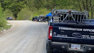 A BCCOS vehicle is pictured at the scene of a cougar attack on May 4, 2021. (Scott Connorton / CTV News Vancouver)