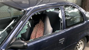 Damage caused to one of the vehicles on Monday, May 4, 2021. (VicPD)