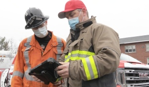 Pictured are Roch Berthiaume, left, who volunteers as an emergency first responder on the mine rescue team, and Shawn  Rideout, chief mine rescue officer. (Alana Everson/CTV News)