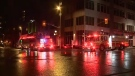 Fire trucks line the street in front of Ottawa's Andaz hotel May 4, 2021.